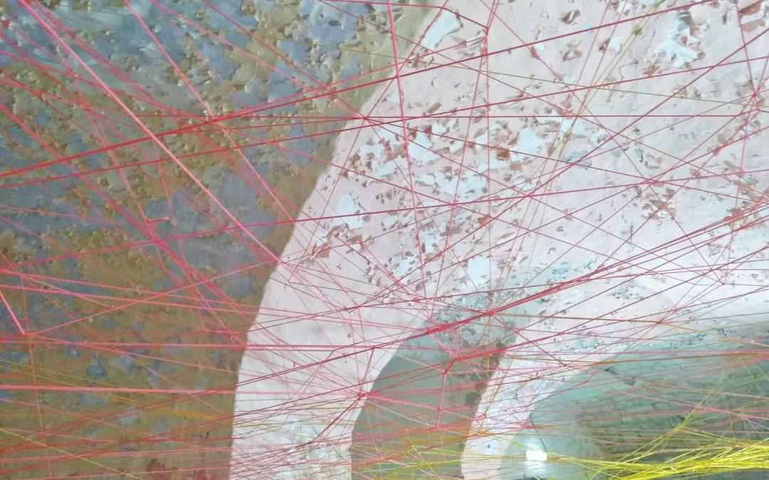 Leider schon vorbei: Installation Polygonalsystem auf der Wilhelmsburg